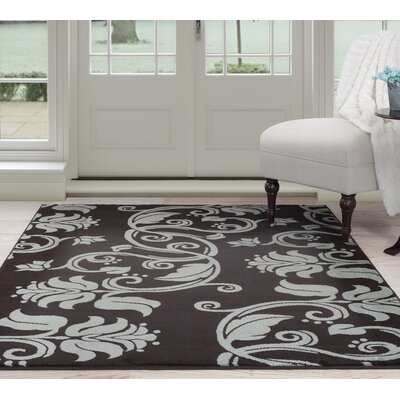 Floral Scroll Brown/Gray Area Rug Rug Size: 33 x 5
