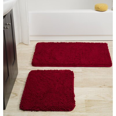 2 Piece Memory Foam Shag Bath Rug Set Color: Burgundy