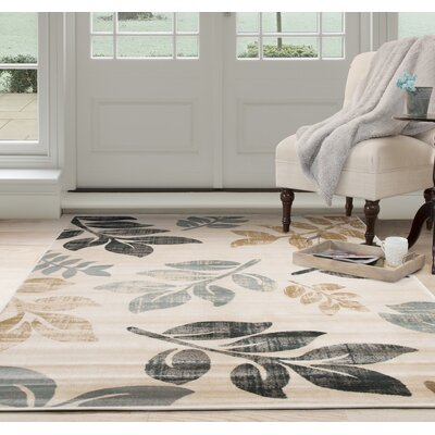 Falling Leaves Beige/Black Area Rug Rug Size: Rectangle 8 x 10