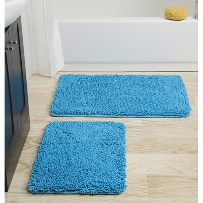 2 Piece Memory Foam Shag Bath Rug Set Color: Blue