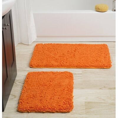 2 Piece Memory Foam Shag Bath Rug Set Color: Orange