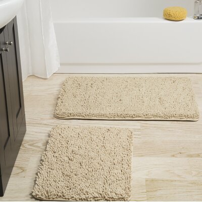 2 Piece Memory Foam Shag Bath Rug Set Color: Ivory