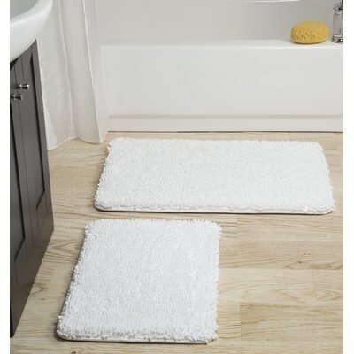 2 Piece Memory Foam Shag Bath Rug Set Color: White