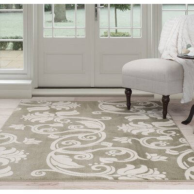 Floral Scroll Green/Beige Area Rug Rug Size: 33 x 5