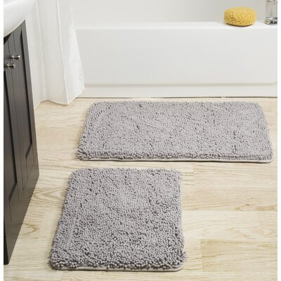 2 Piece Memory Foam Shag Bath Rug Set Color: Gray