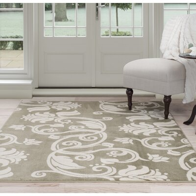 Floral Scroll Green/Beige Area Rug Rug Size: 4 x 6
