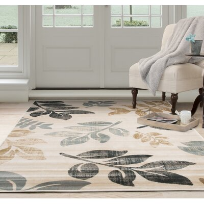 Falling Leaves Beige/Black Area Rug Rug Size: Rectangle 33 x 5