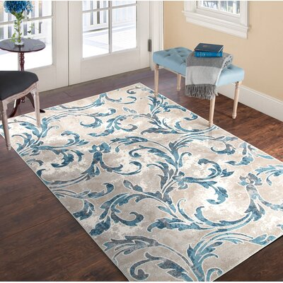 Vintage Leaves Beige/Blue Area Rug Rug Size: 33 x 5