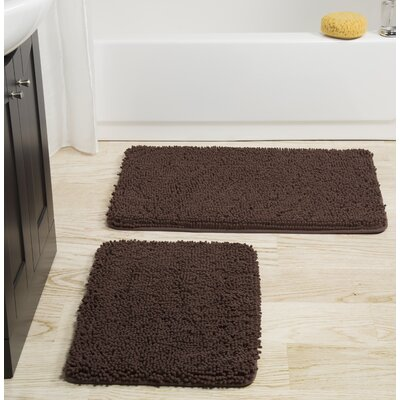 2 Piece Memory Foam Shag Bath Rug Set Color: Chocolate