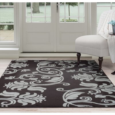 Floral Scroll Brown/Gray Area Rug Rug Size: 5 x 77