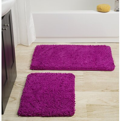 2 Piece Memory Foam Shag Bath Rug Set Color: Pink