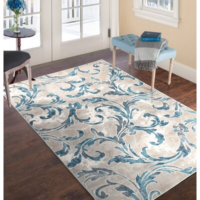 Vintage Leaves Beige/Blue Area Rug Rug Size: 8 x 10