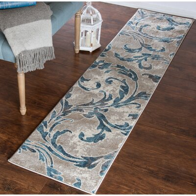 Vintage Leaves Beige/Blue Area Rug Rug Size: Runner 18 x 7