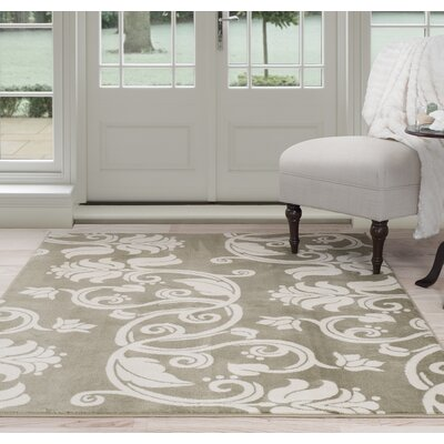 Floral Scroll Green/Beige Area Rug Rug Size: 8 x 10