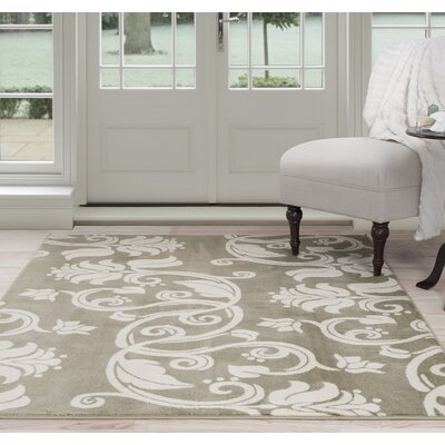Floral Scroll Green/Beige Area Rug Rug Size: 5 x 77