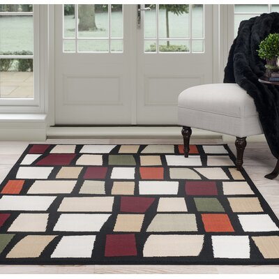 Blocks Black/Beige Area Rug Rug Size: 33 x 5
