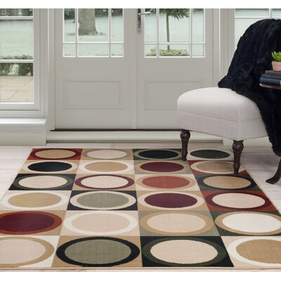 Circles Beige/Green Area Rug Rug Size: 33 x 5