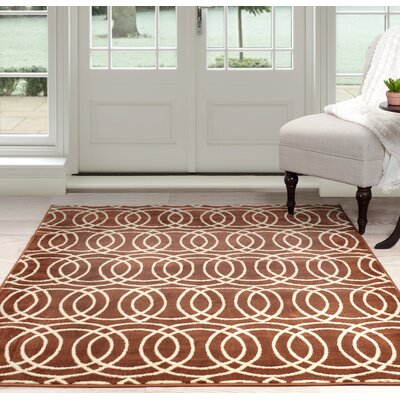 Geometric Orange/Beige Area Rug Rug Size: 4 x 6