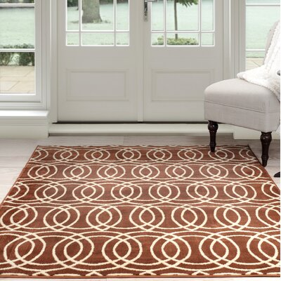 Geometric Orange/Beige Area Rug Rug Size: 8 x 10