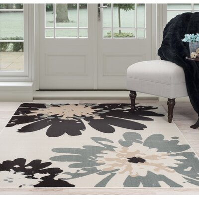 Flower Beige/Black Area Rug Rug Size: 4 x 6