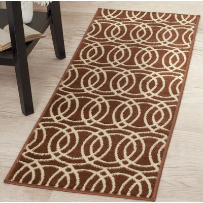 Geometric Orange/Beige Area Rug Rug Size: Runner 18 x 5