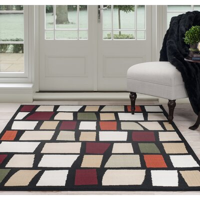 Blocks Black/Beige Area Rug Rug Size: 5 x 77