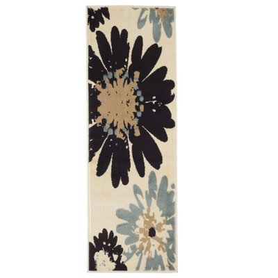 Flower Beige/Black Area Rug Rug Size: Runner 18 x 5