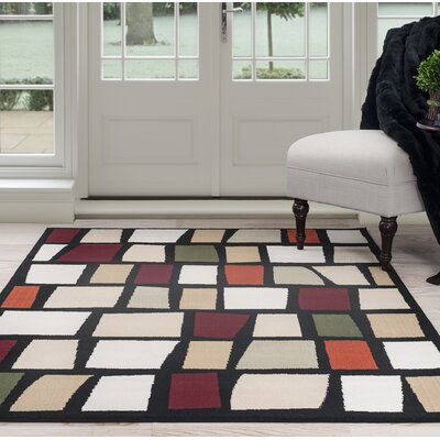 Blocks Black/Beige Area Rug Rug Size: 8 x 10