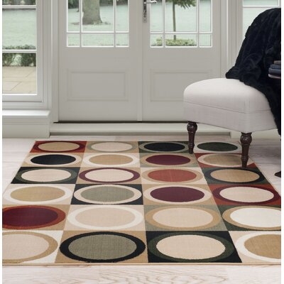 Circles Beige/Green Area Rug Rug Size: 4 x 6