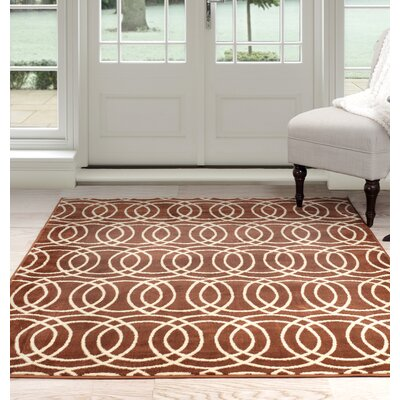 Geometric Orange/Beige Area Rug Rug Size: 33 x 5