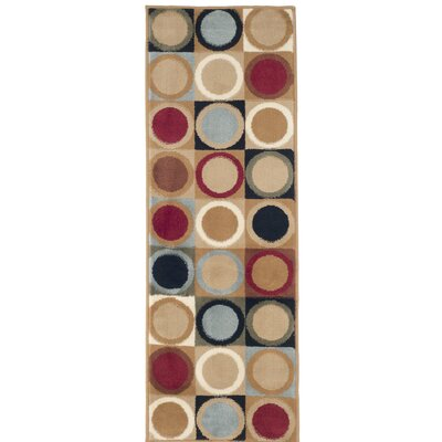 Circles Beige/Green Area Rug Rug Size: Runner 18 x 5