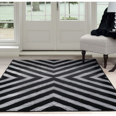 Kaleidoscope Black/Gray Area Rug Rug Size: 5' x 7'7