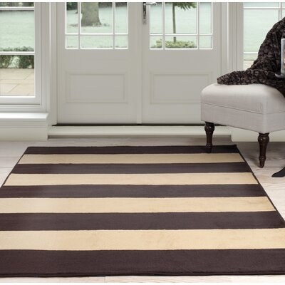 Autumn Stripe Beige/Brown Area Rug Rug Size: 4 x 6