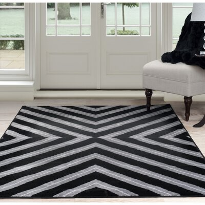 Kaleidoscope Black/Gray Area Rug Rug Size: 4 x 6