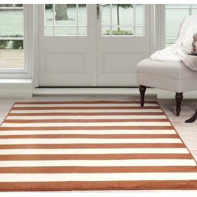 Stripe Orange/Beige Area Rug Rug Size: 33 x 5