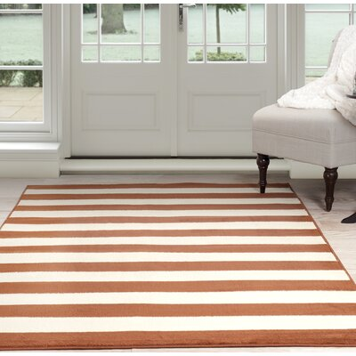 Stripe Orange/Beige Area Rug Rug Size: 8 x 10