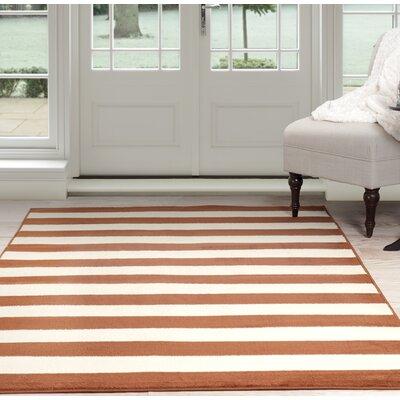 Stripe Orange/Beige Area Rug Rug Size: 8 x 10