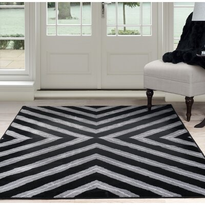 Kaleidoscope Black/Gray Area Rug Rug Size: 8 x 10