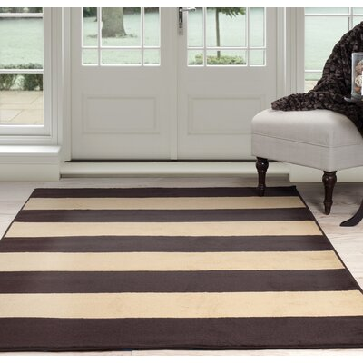 Autumn Stripe Beige/Brown Area Rug Rug Size: 5 x 77
