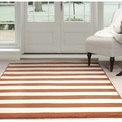 Stripe Orange/Beige Area Rug Rug Size: Runner 18 x 5