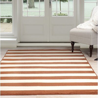 Stripe Orange/Beige Area Rug Rug Size: 5 x 77