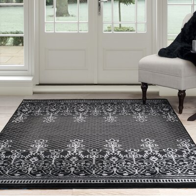 Royal Garden Black/Gray Area Rug Rug Size: 4' x 6'