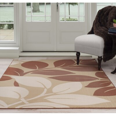 Large Leaves Beige/Brown Area Rug Rug Size: 4' x 6'