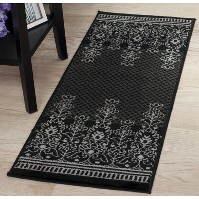 Royal Garden Black/Gray Area Rug Rug Size: Runner 1'8
