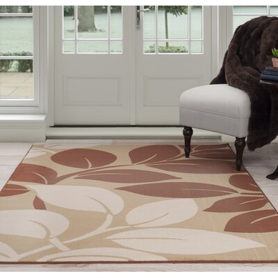 Large Leaves Beige/Brown Area Rug Rug Size: 3'3