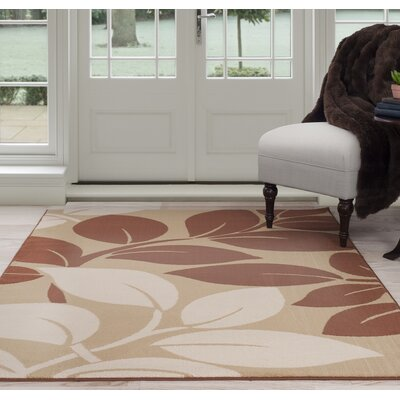 Large Leaves Beige/Brown Area Rug Rug Size: 8 x 10