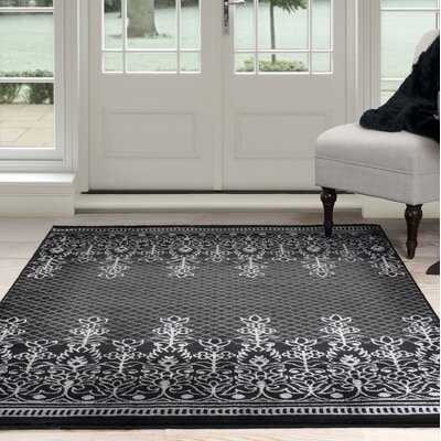 Royal Garden Black/Gray Area Rug Rug Size: 5 x 77