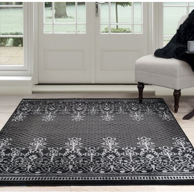 Royal Garden Black/Gray Area Rug Rug Size: 8 x 10
