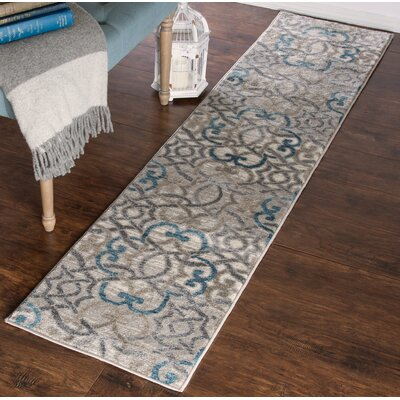 Vintage Brocade Blue/Gray Area Rug Rug Size: Runner 1'8