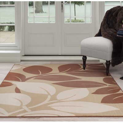 Large Leaves Beige/Brown Area Rug Rug Size: 5 x 77